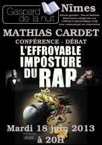 L'effroyable imposture du rap - Conférence de Mathias Cardet à Nîmes le 18 juin 2013 affiche-gdln-cardet-212x300